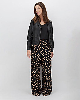 Spot Front Split Wide Leg Trousers Regular