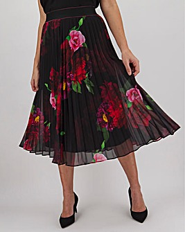 Pleated Placement Print Midi Skirt