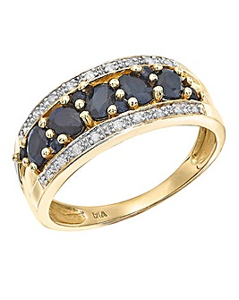 9 Carat Gold Sapphire Diamond Pave Band Ring