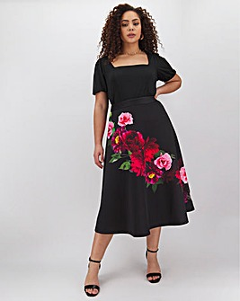 Placement Print Scuba Prom Skirt