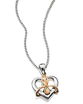 Clogau Sterling Silver and 9 Carat Rose Gold 'Dwynwen' Heart Pendant