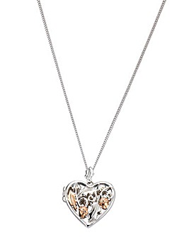 Clogau Sterling Silver and 9 Carat Rose Gold 'Royal Oak' Heart Locket