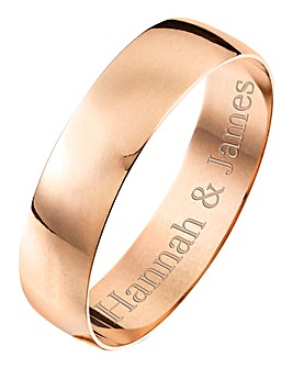 Personalised Rose Gold Gents Wedding Band