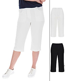 2 Pack Woven Crop Cotton Trousers