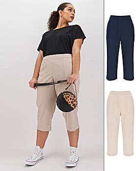 2 Pack Woven Crop Cotton Pull On Trousers