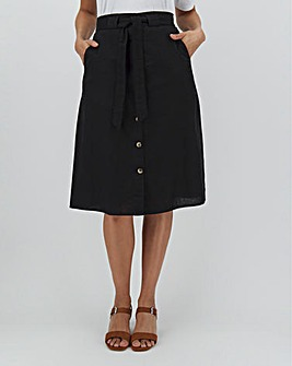Linen Rich Button Through Midi Skirt