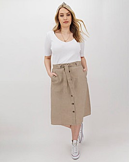 Linen Rich Button Through Midi Skirt