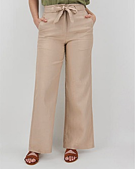 Linen Rich Tie Waist Wide Leg Trousers
