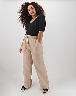 Linen Rich Tie Waist Wide Leg Trousers Regular
