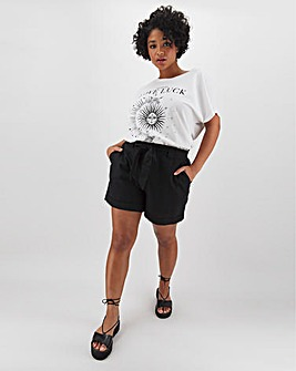 Linen Rich Tie Waist Turn-up Shorts