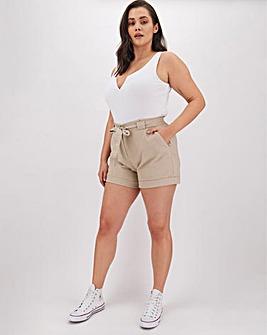 Linen Rich Tie Waist Turn-up Shorts