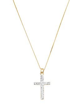 Crystal Glitz 9 Carat Gold Cross Pendant
