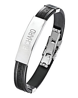 Stainless Steel & Rubber Gents Bracelet