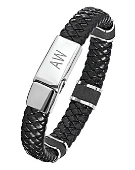 Stainless Steel and Leather Gents Initials Bracelet