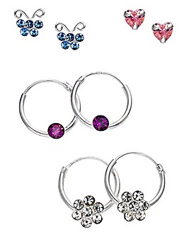 Crystal Set of 4 Earrings