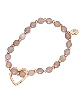 Gemstone Stretch Heart Bracelet