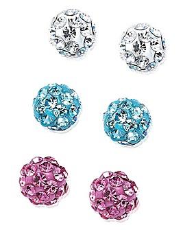 Sterling Silver Crystal Earring Set