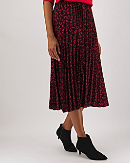 Print Pleat Midi skirt