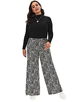 Mono Print Crepe Wide Trousers Reg