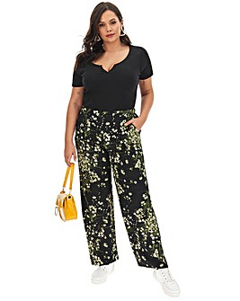 Floral Print Crepe Wide Trousers Regular