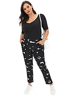 Mono Print Crepe Tapered Trousers Regular