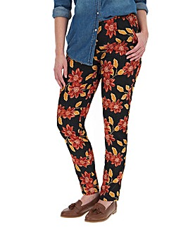Floral Print Crepe Tapered Trousers
