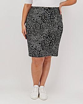 Mono Print Jersey Mini Tube Skirt