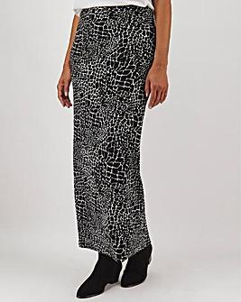Mono Print Jersey Maxi Tube Skirt