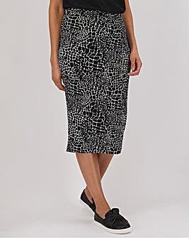 Mono Print Jersey Midi Tube Skirt