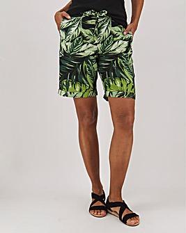 Petite Floral Print Linen Mix Shorts