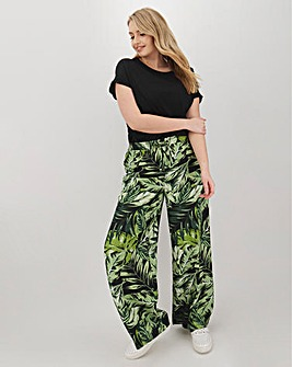 Floral Linen Mix Wide Trousers Regular