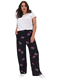 Floral Print Wide Jersey Trousers