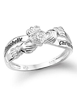 Sterling Silver and Diamond Personalised Claddagh Ring