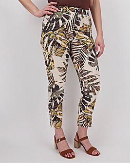 Linen Mix Printed Tapered Trouser