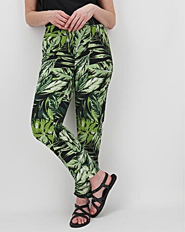 Floral Linen Mix Tapered Trousers