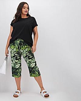 Floral Print Linen Mix Crop Trousers