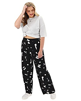 Mono Print Jersey Wide Leg Trousers Regular