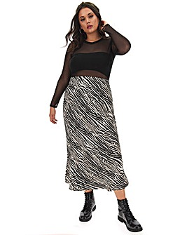 Zebra Print Satin Maxi Tube Skirt
