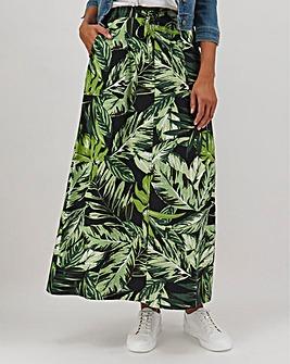 Floral Print Linen Mix Maxi Skirt