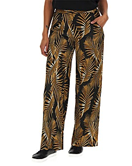 Leaf Print Crepe Wide Leg Trousers