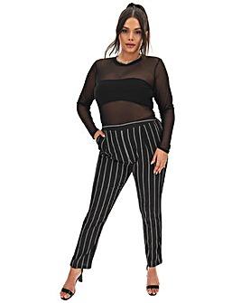 Stripe Crepe Tapered Trousers Regular