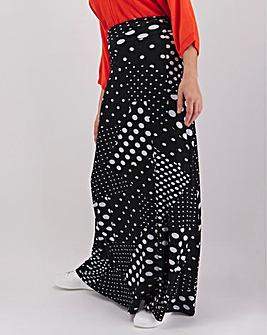Spot Print Jersey Maxi Skirt
