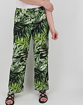 Floral Print Linen Mix Trousers Regular