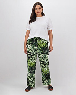 Floral Print Linen Mix Trousers Long
