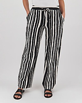 Petite Stripe Easy Care Linen Mix Trousers