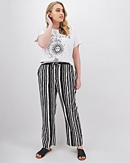 Stripe Easy Care Linen Mix Trousers Extra Short