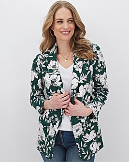 Green Floral Printed Throw On Blazer