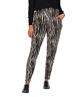 Zebra Print Jersey Tapered Trousers