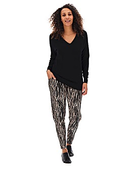 Petite Zebra Print Stretch Jersey Jogger Tapered Trousers