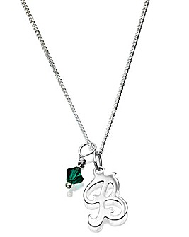 Personalised Initial Charm Pendant with Birthstone Charm